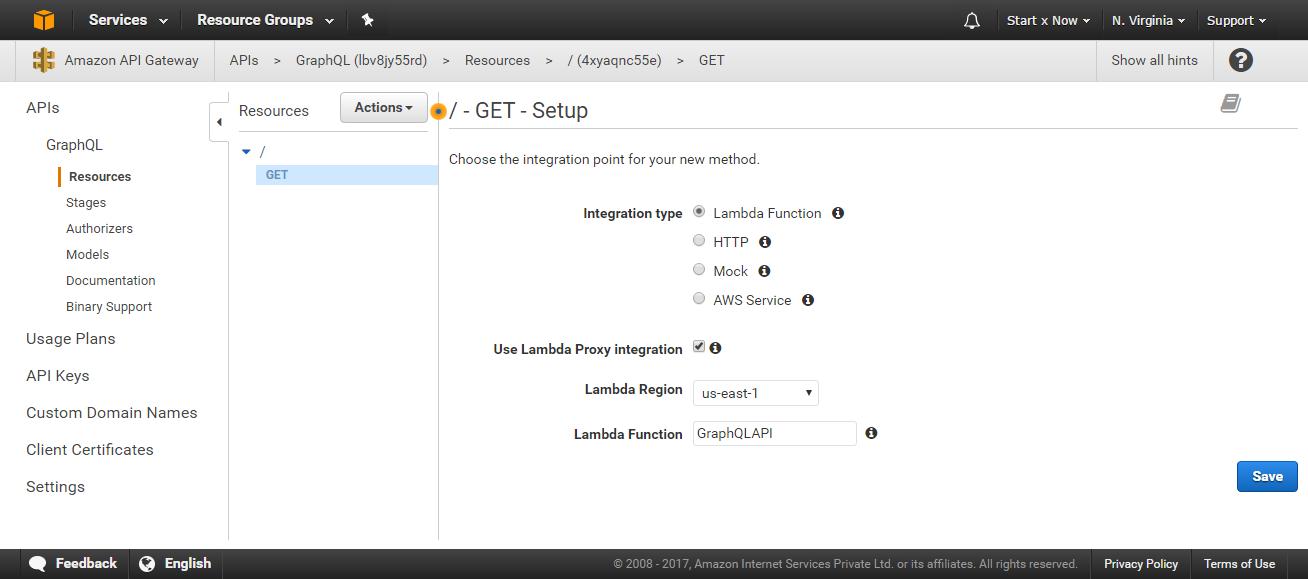 API Gateway GET Setup