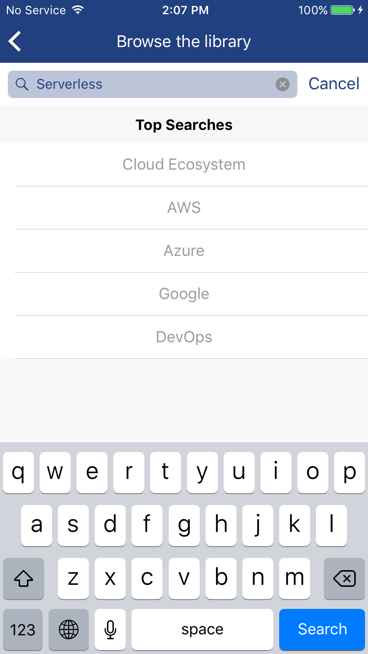 Cloud Academy Mobile App Search
