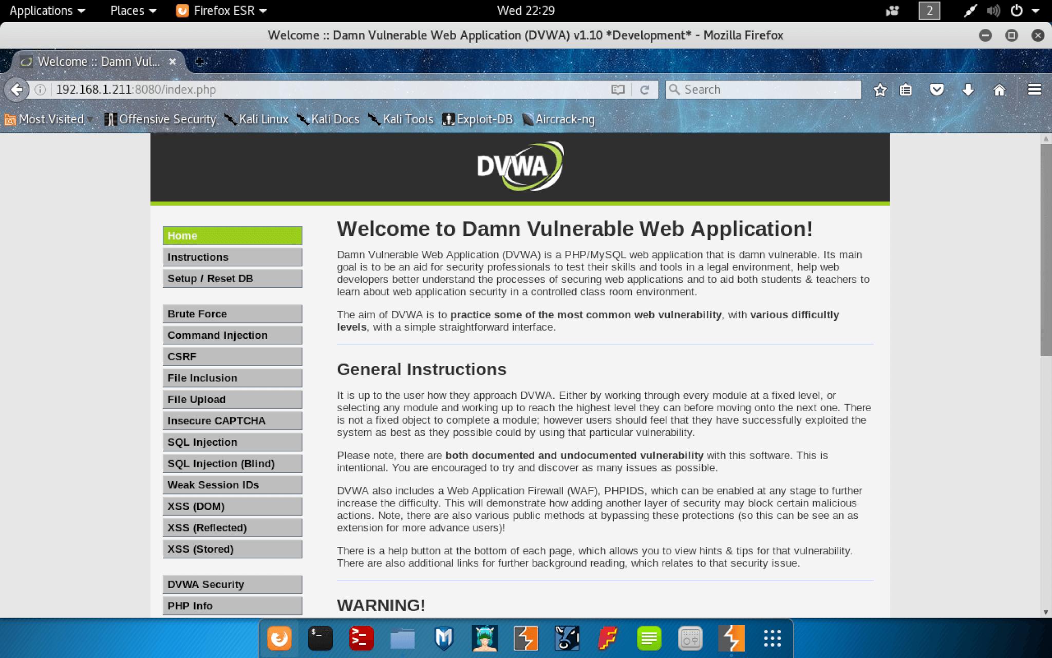 DVWA Home Page