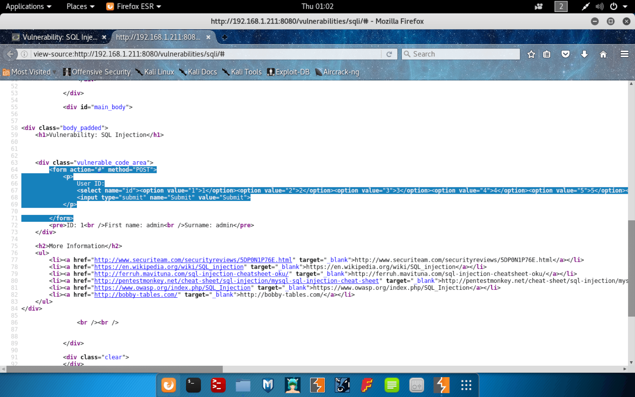 SQL Injection View Source