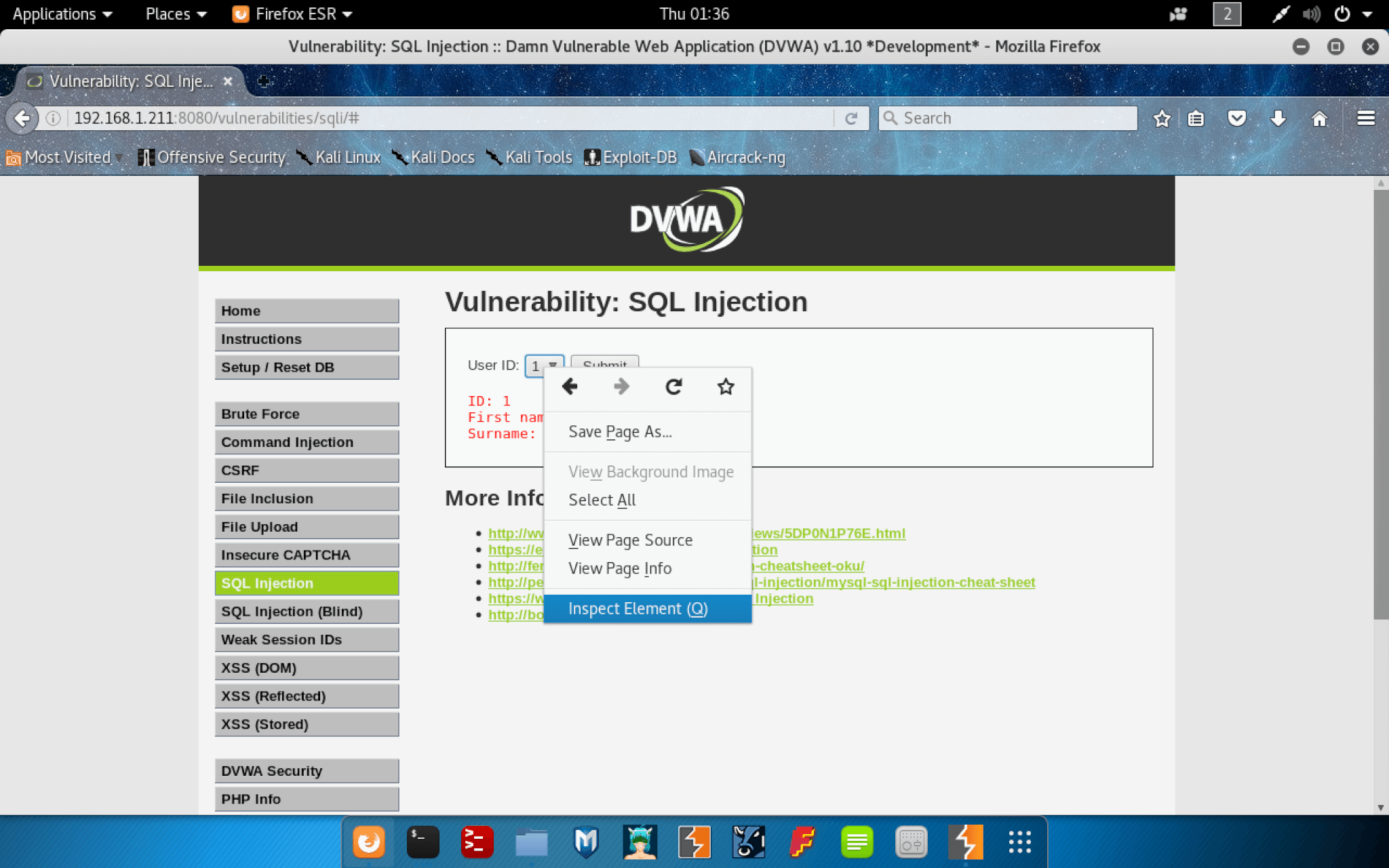 SQL Injection Inspect Element