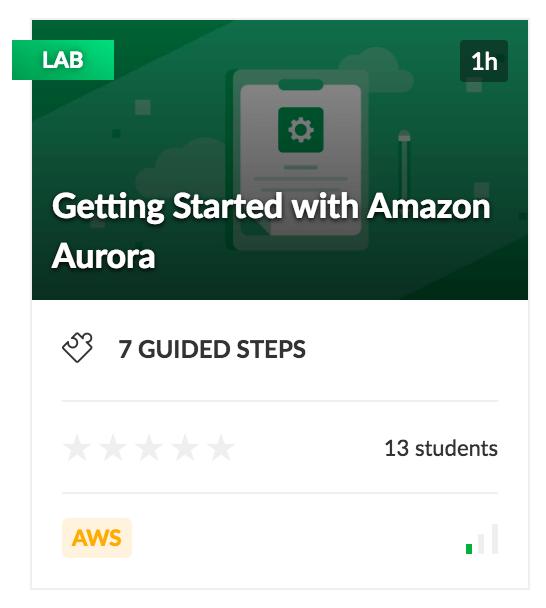 AWS Lab training for Amazon Aurora