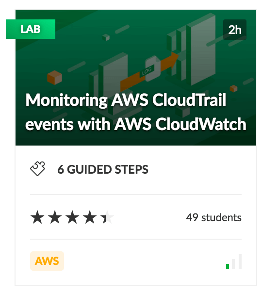 Monitoring AWS CloudTrail events with AWS CloudWatch