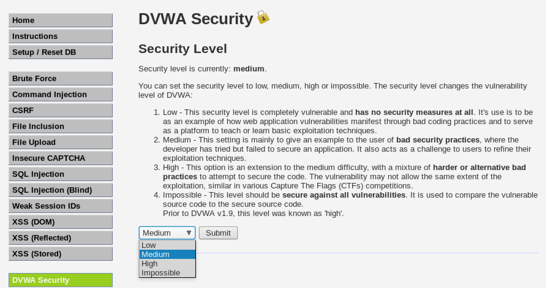 Change DVWA Difficulty