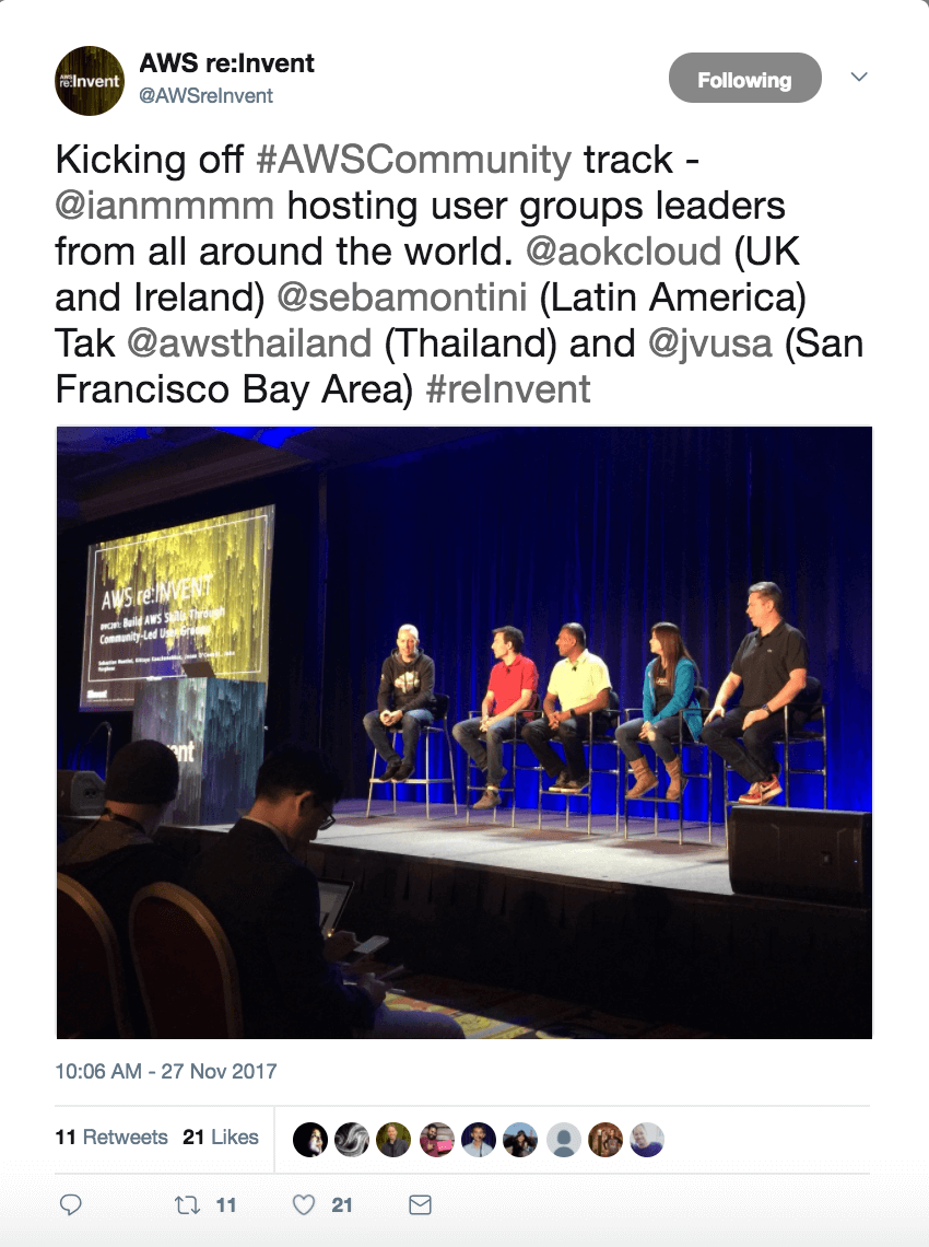 AWS re:Invent 17 Tweet