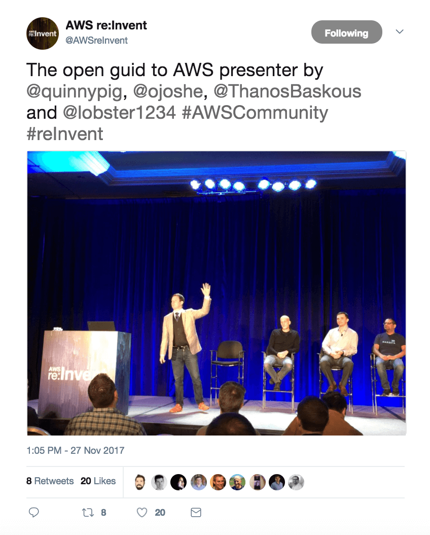 AWS re:Invent Tweet