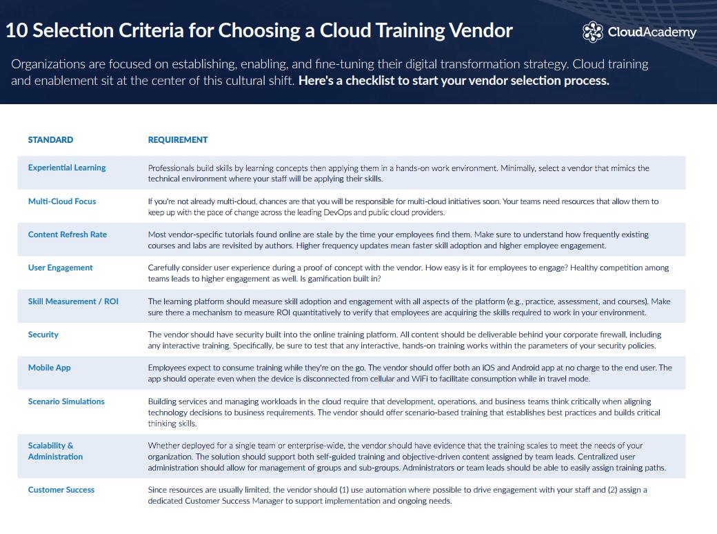 10 Selection Criteria for Choosing a Cloud Training Vendor