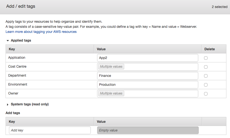 Adding Tags Using the AWS Tag Editor