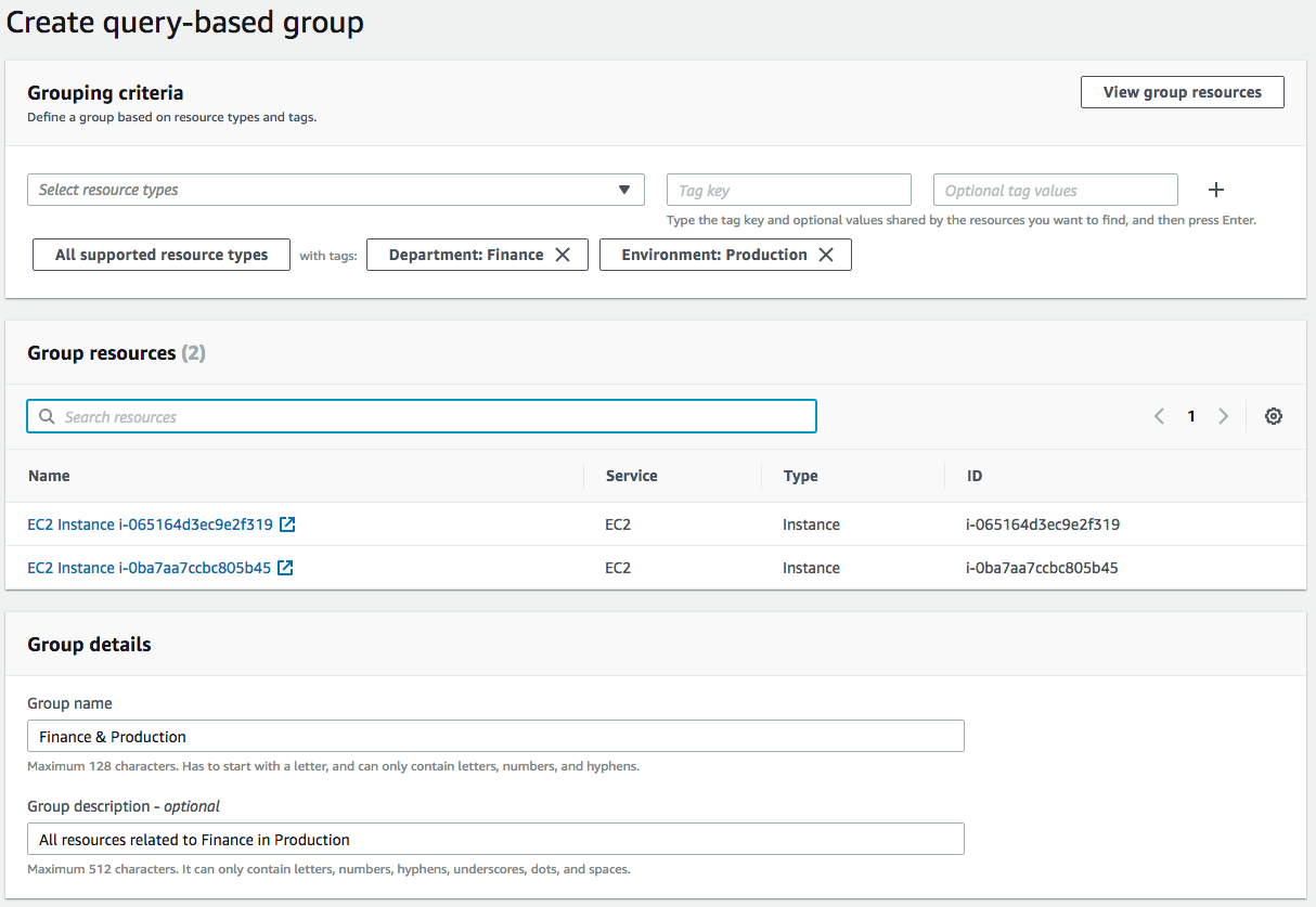 Create query-based Resource Group on AWS
