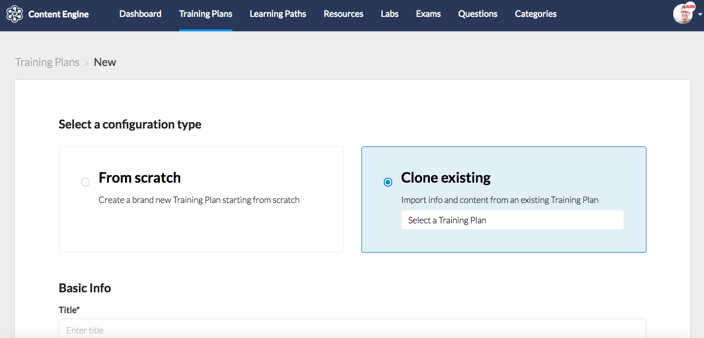 CE for Training Plans - Clone Existing