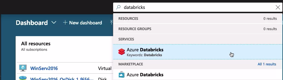 Search for Azure Databricks