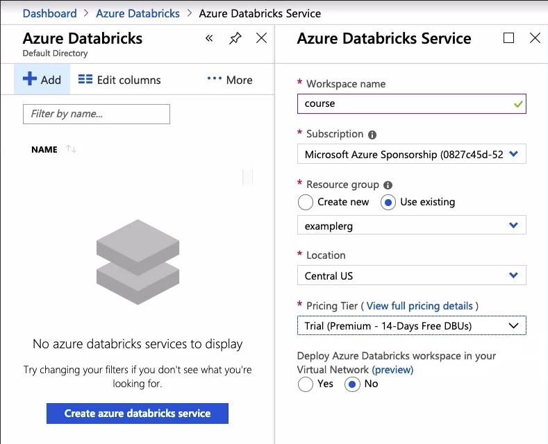 Create Azure Databricks Service for Apache Sparks