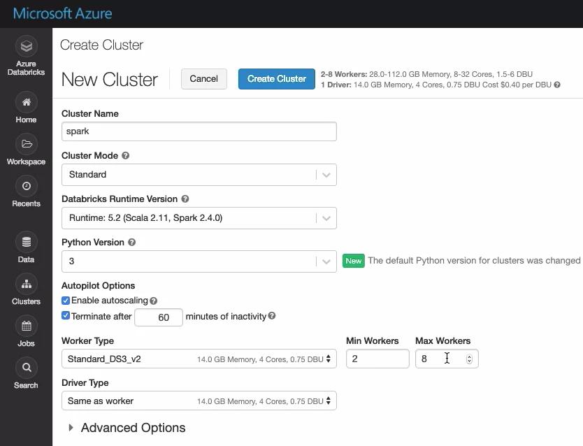 Create Apache Spark Cluster