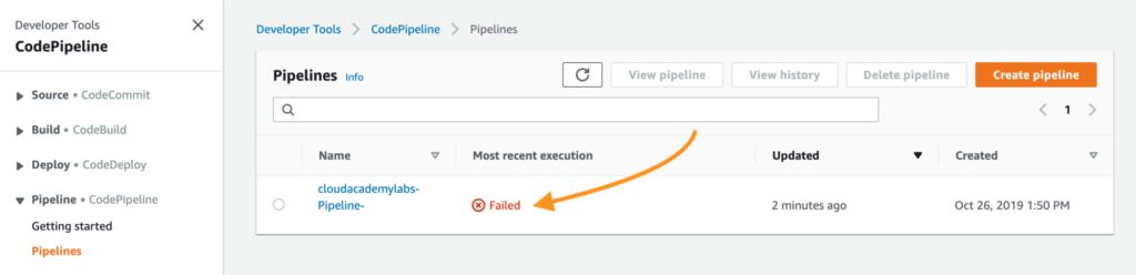 Cloud Academy's Dev Tools Lab Challenge example error