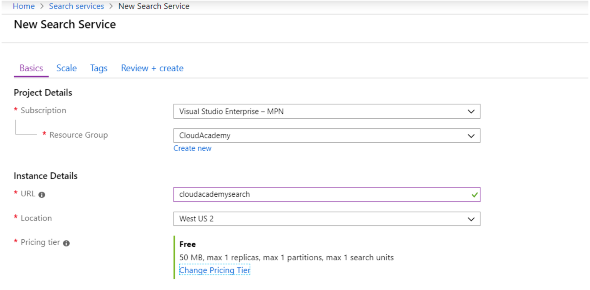 Add New Azure Search Service
