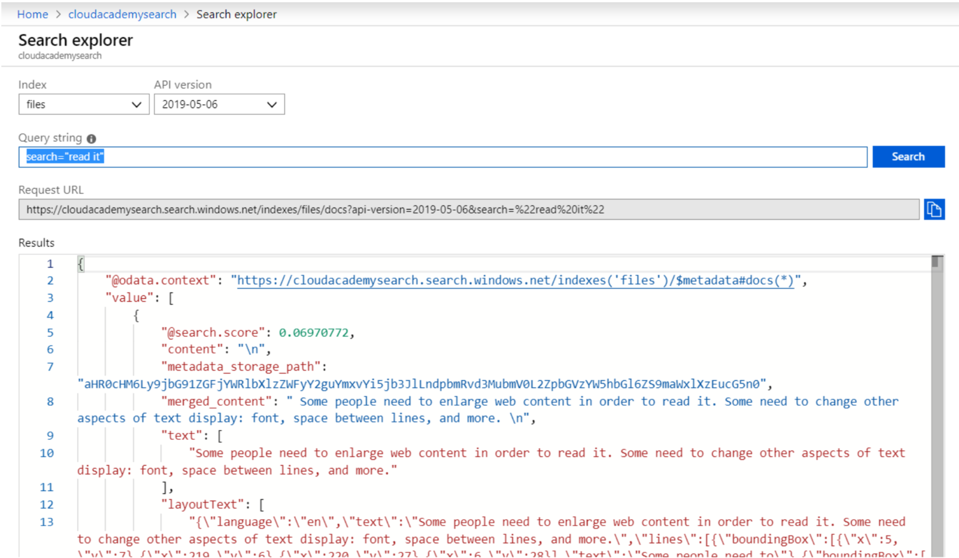Azure Search Results