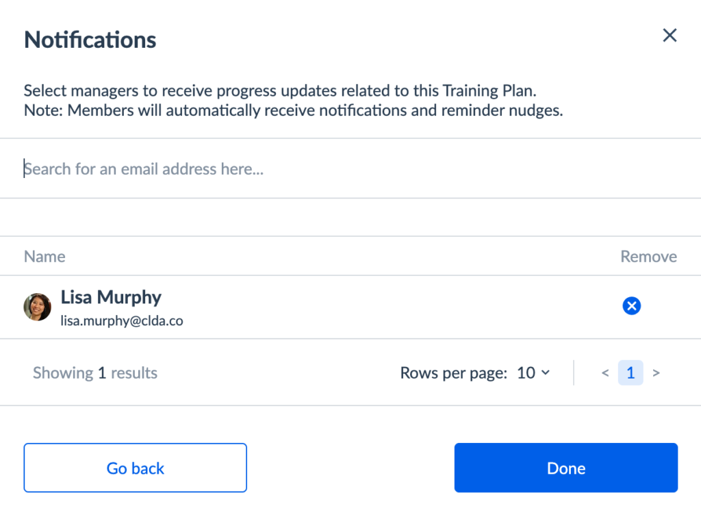 Notifications in Training Plans