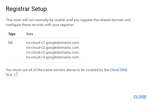 Google Cloud - Registrar Setup