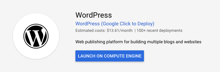 WordPress - Launch on Compute Engine