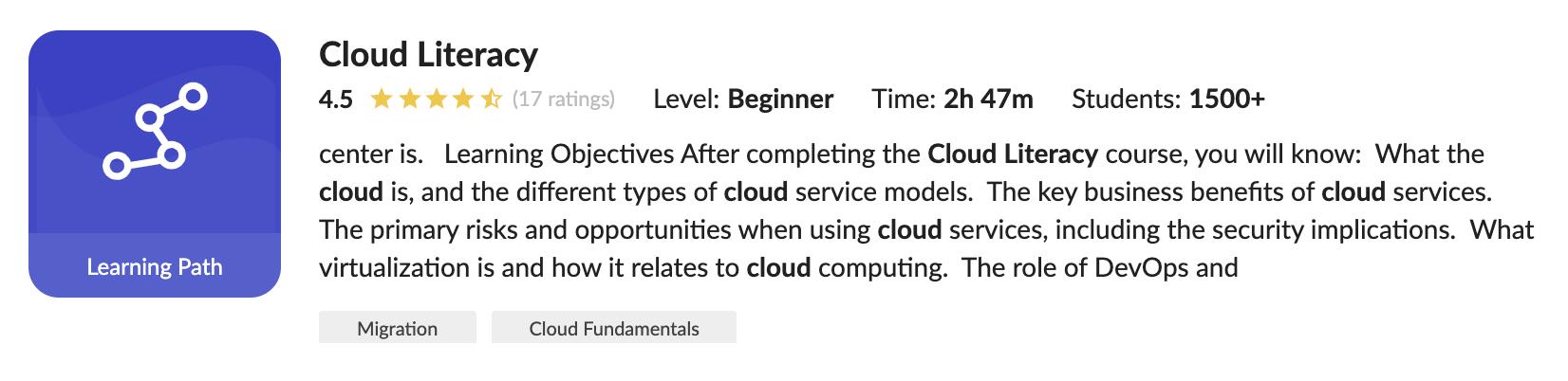 Cloud Academy Cloud Literacy