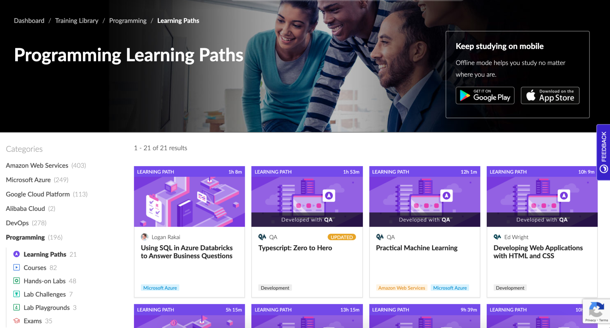 Cloud Academy Programming Learning Paths