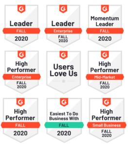 Cloud Academy G2 Badges Fall 2020