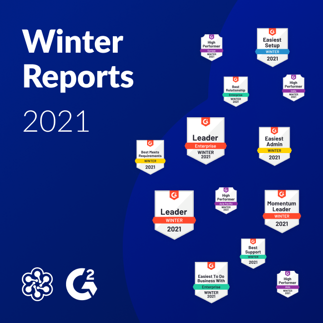 Cloud Academy's G2 badges for Winter 2021