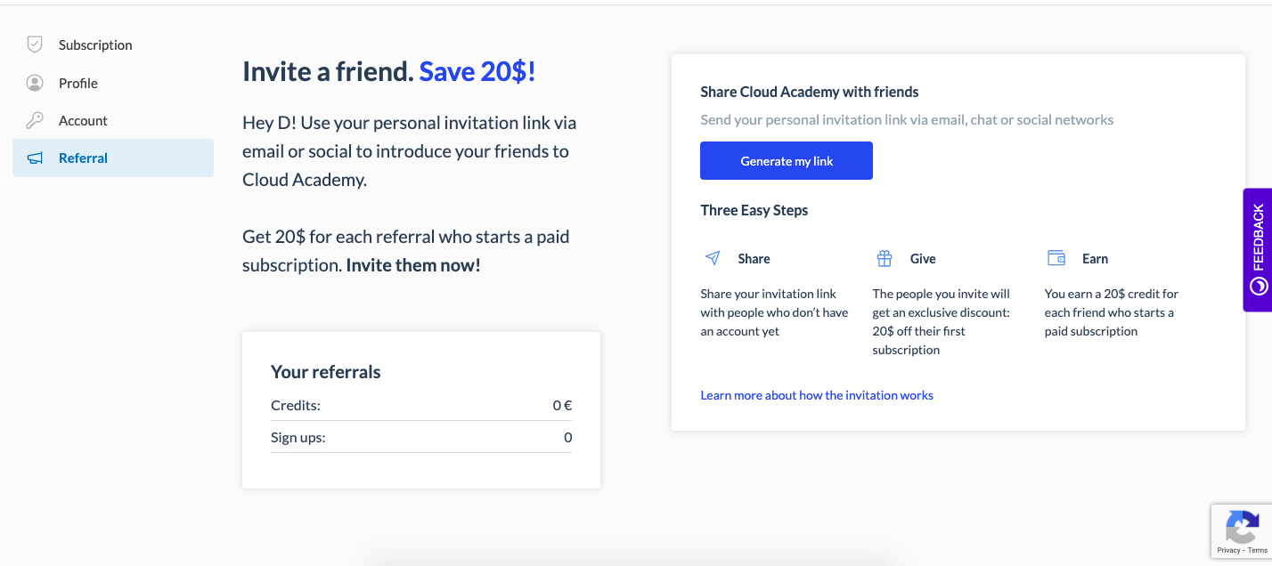 Cloud Academy referral page how to
