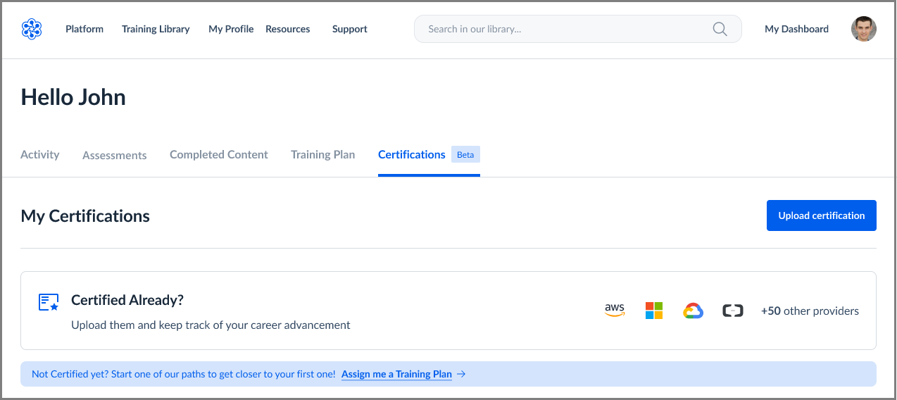 Dashboard with Certification Uploader
