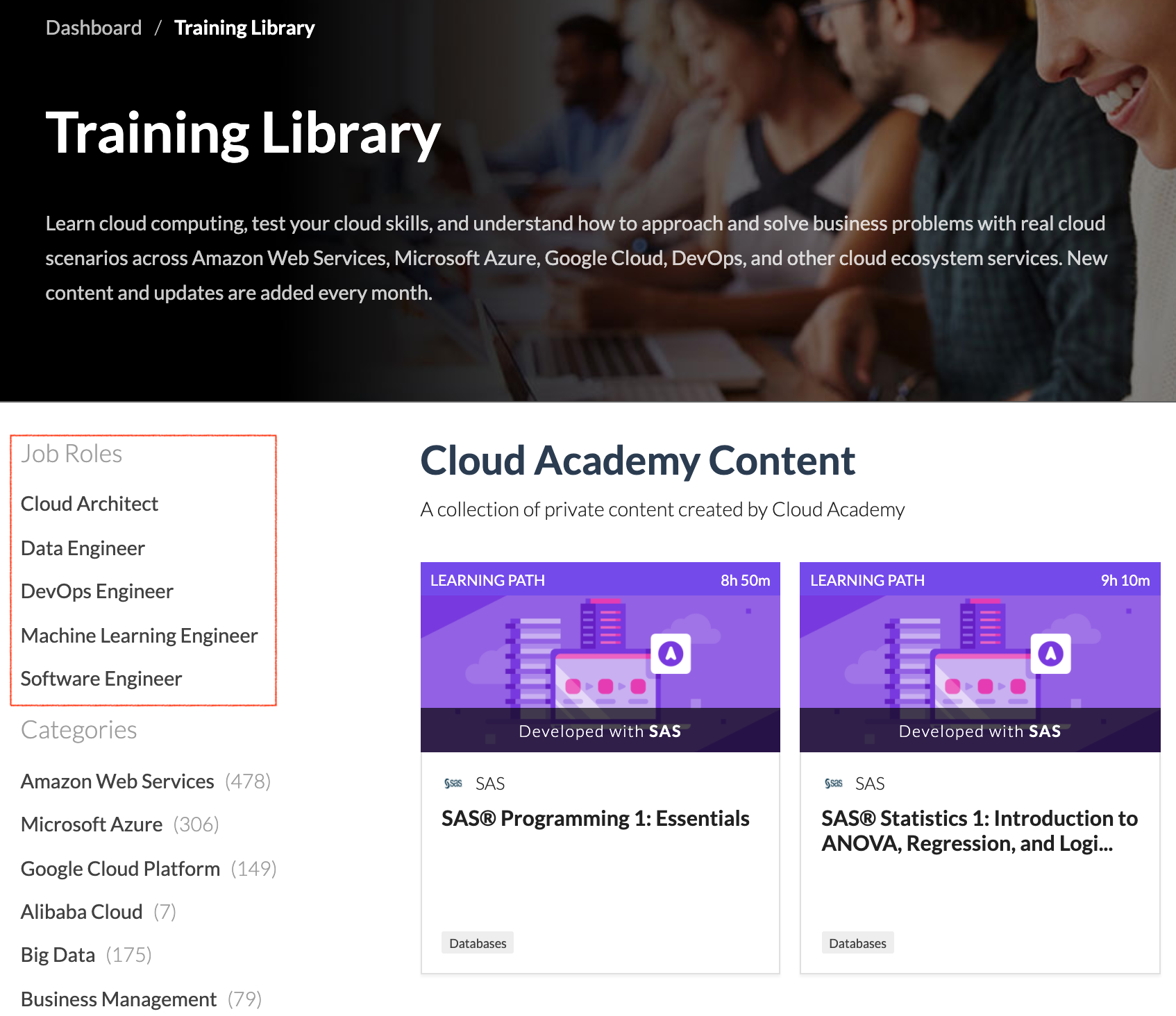 Job Roles in Training Library