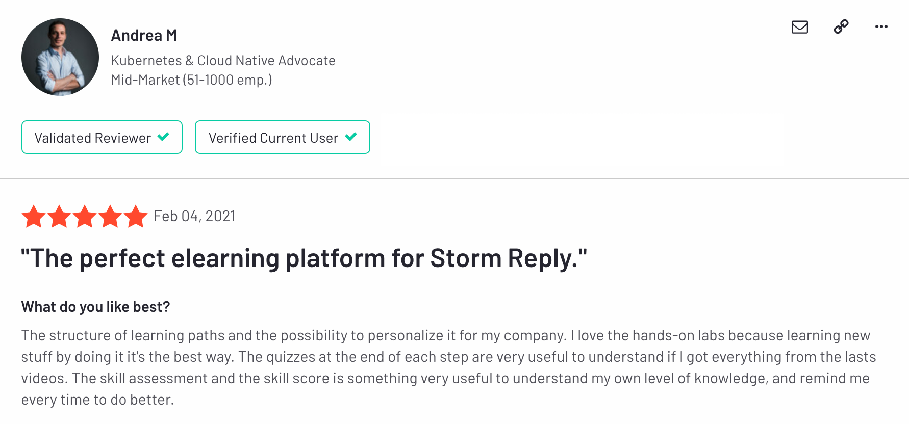 Cloud Academy review on G2 by Andrea M