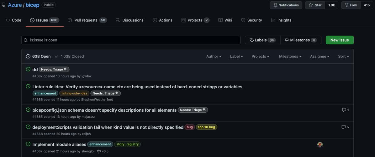 Azure Bicep Issues on GitHub